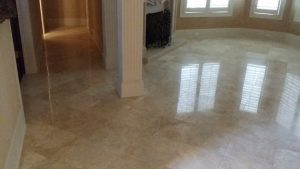 travertine dinning room polished to a shine